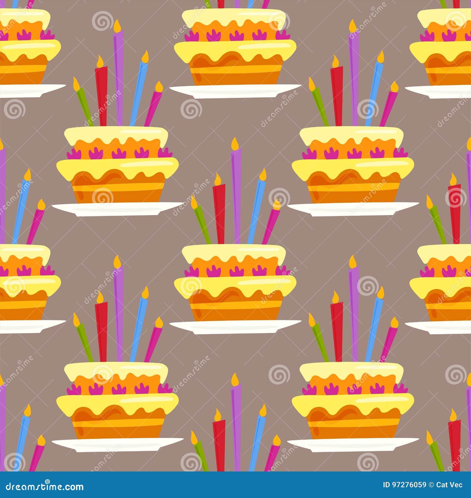 Party Cake Celebration Happy Birthday Surprise Decoration Seamless