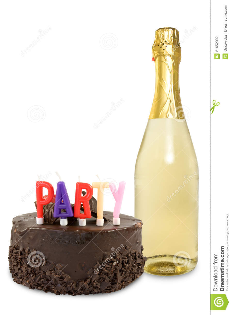 Birthday Cake And Champagne Bottle Over A White Background