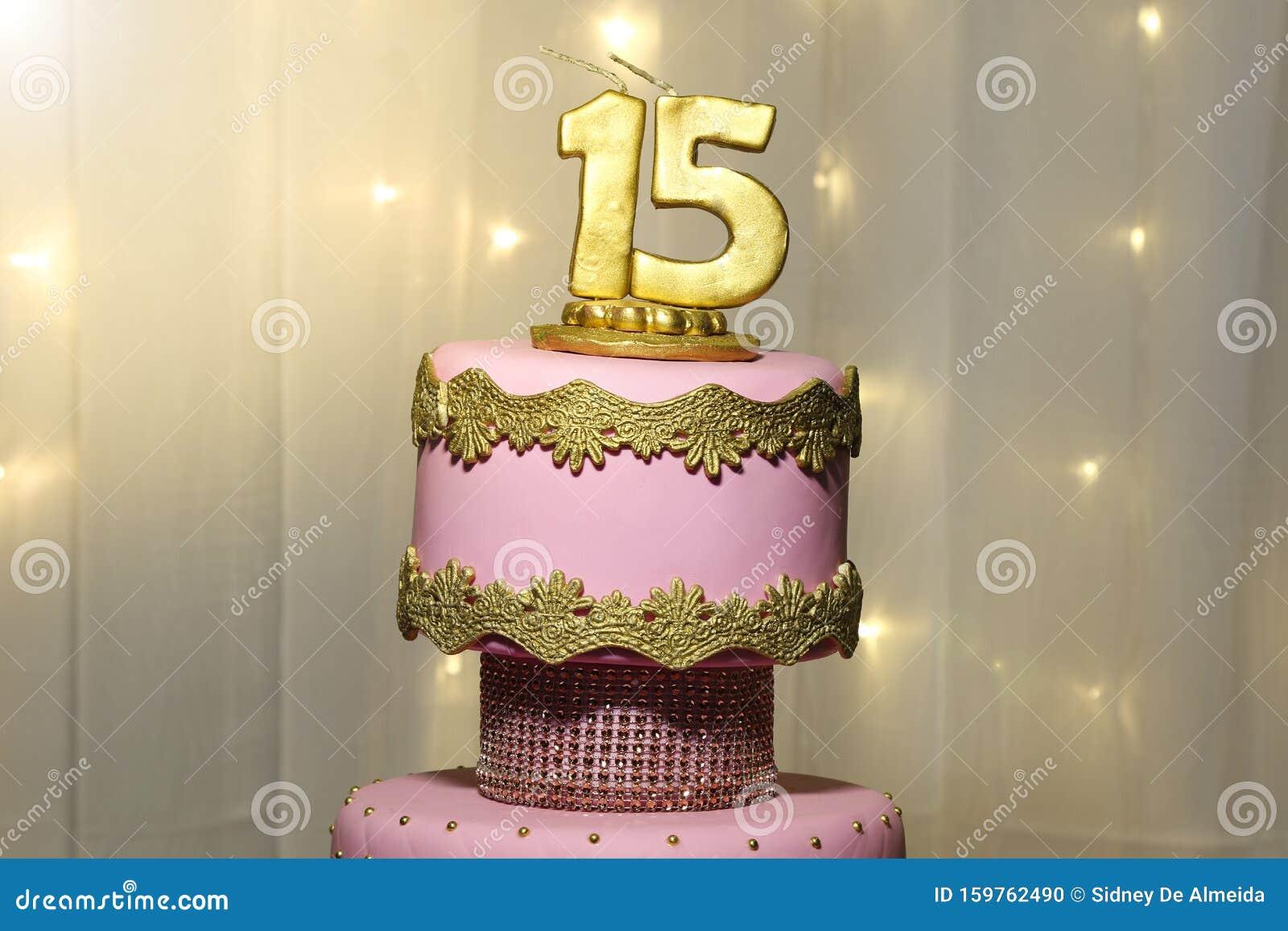 Strange Party Cake 15Th Birthday Cake Fifteen Years Stock Photo Image Personalised Birthday Cards Veneteletsinfo