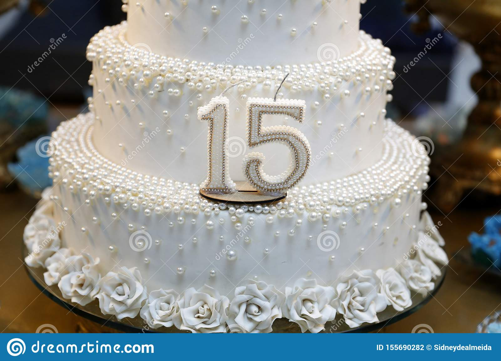 Stupendous Party Cake 15 Year Old Birthday Cake Fifteen Years Old Stock Funny Birthday Cards Online Alyptdamsfinfo