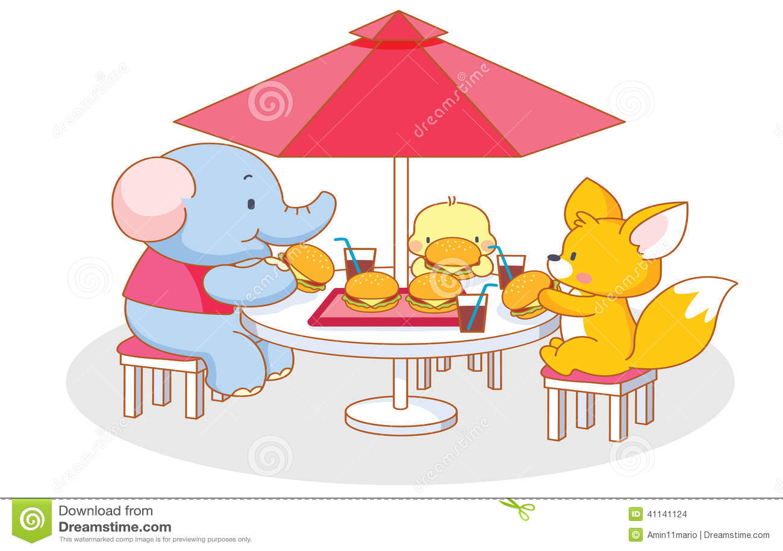 Party Cartoon Funny Animal Eating A Hamburger Stock ...