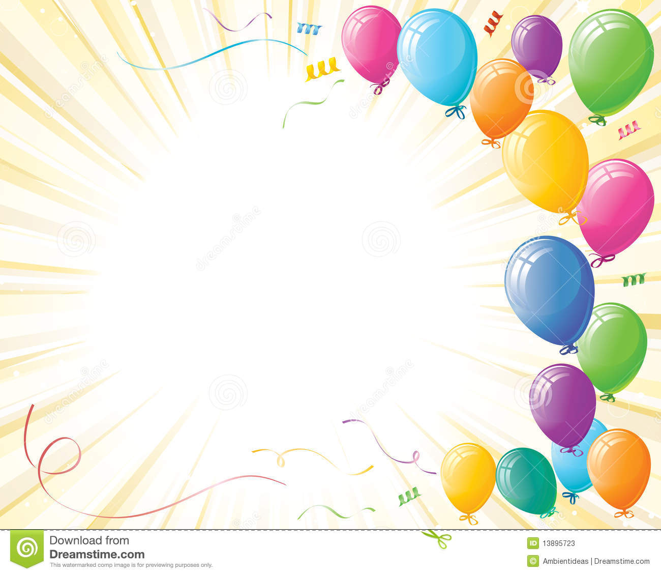 Party Celebration Balloons On Yellow Burst Stock Photos - Image