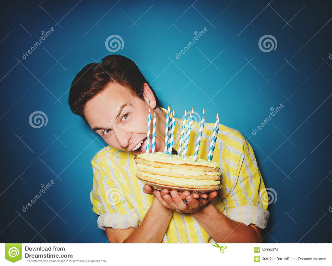 Party Celebration With Young Man With A Cake Stock Photo Image