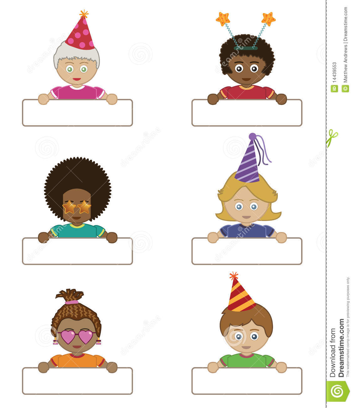 Party Children Holding Name Tags Stock Vector Illustration Of Pink