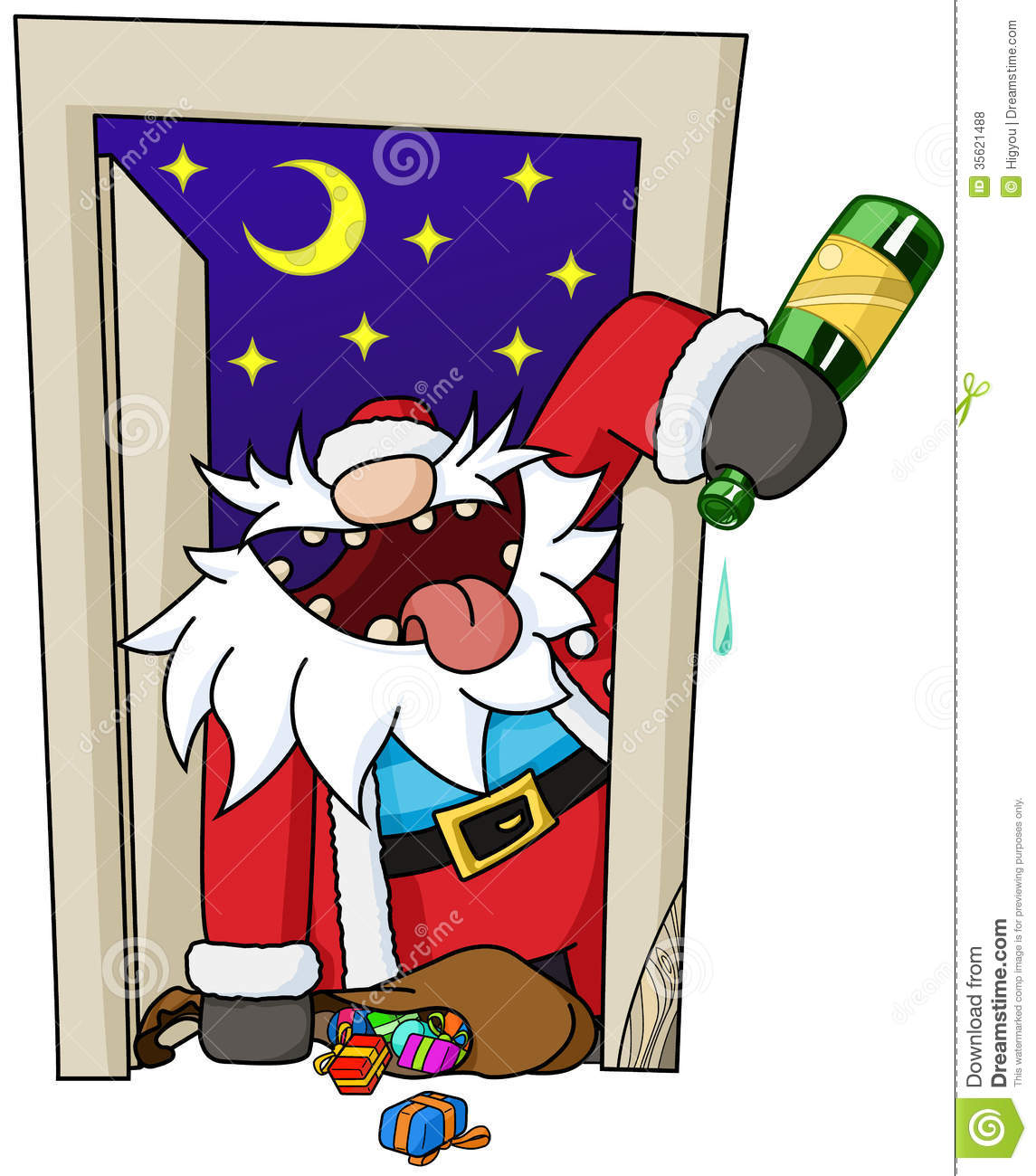 Christmas Party Images Cartoon.Party Christmas Cartoon Door Stock Vector Illustration Of