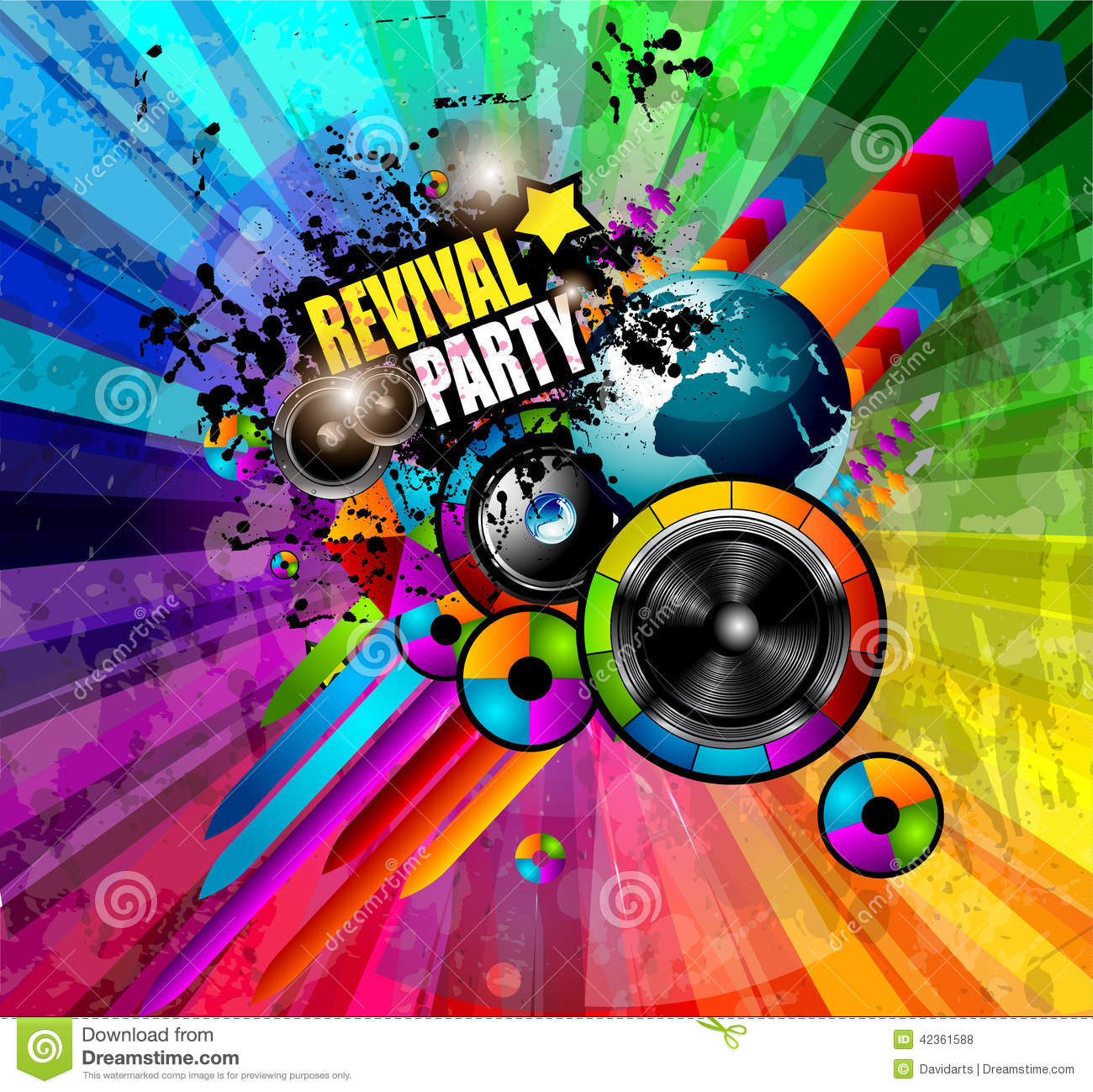 party club flyer for music event with explosion of colors  stock vector