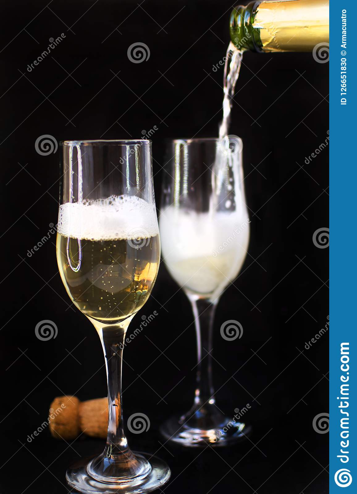 Champagne bottle with champagne glasses. Champagne bottle with champagne glasses.