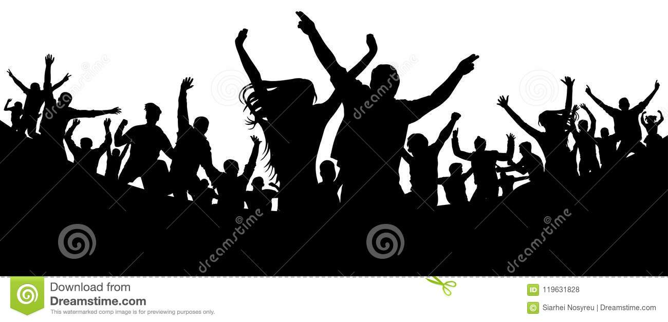 Party, concert, dance, fun. Crowd of people silhouette vector. Cheerful youth