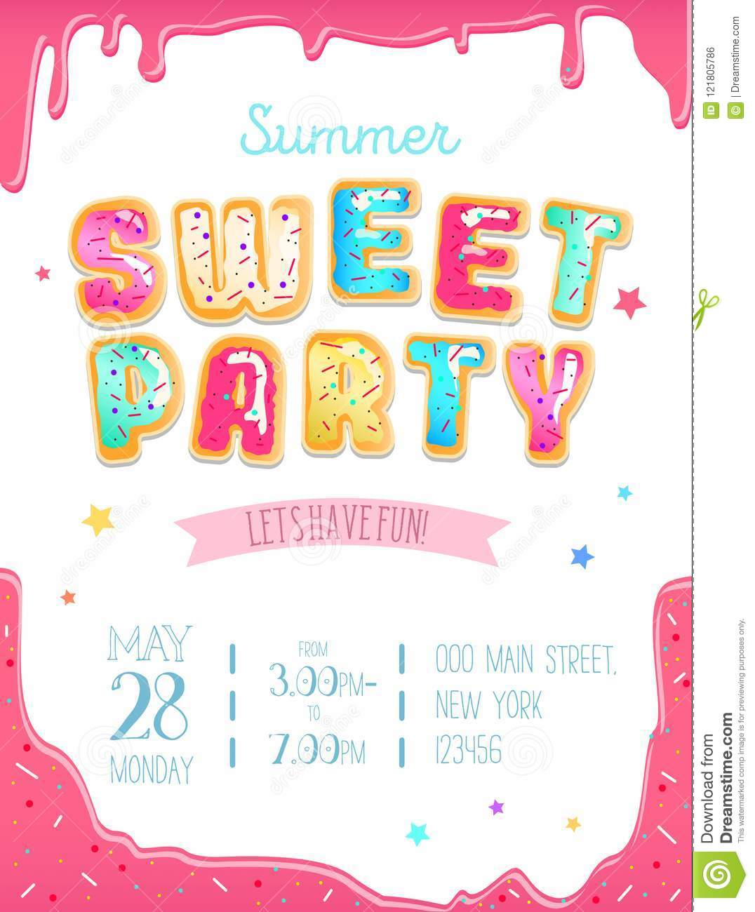 Party Cute Invitation Design. Sweet Donut Party Poster For Birth ...