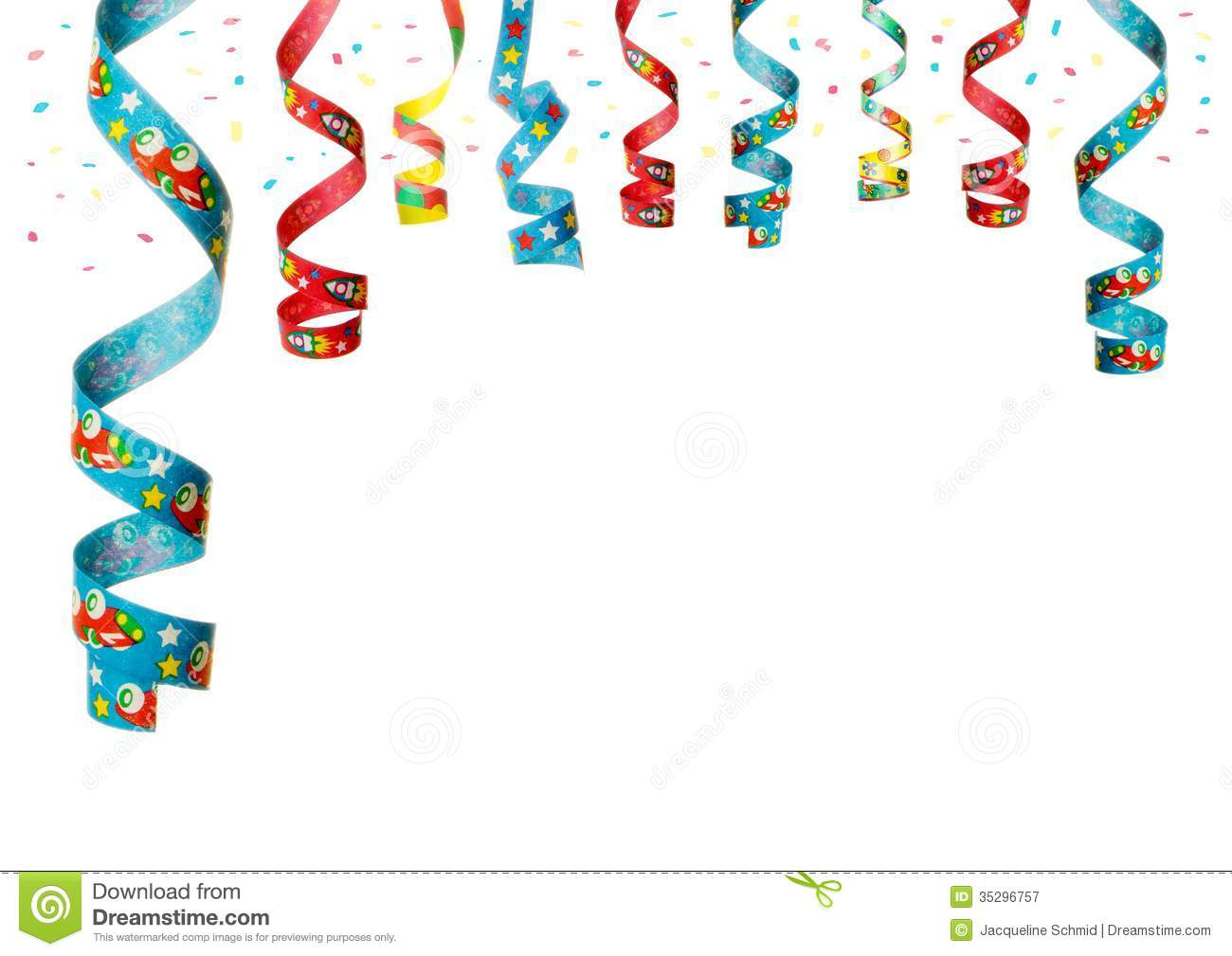 Streamers and confetti as decoration for parties, sylvester isolated ...