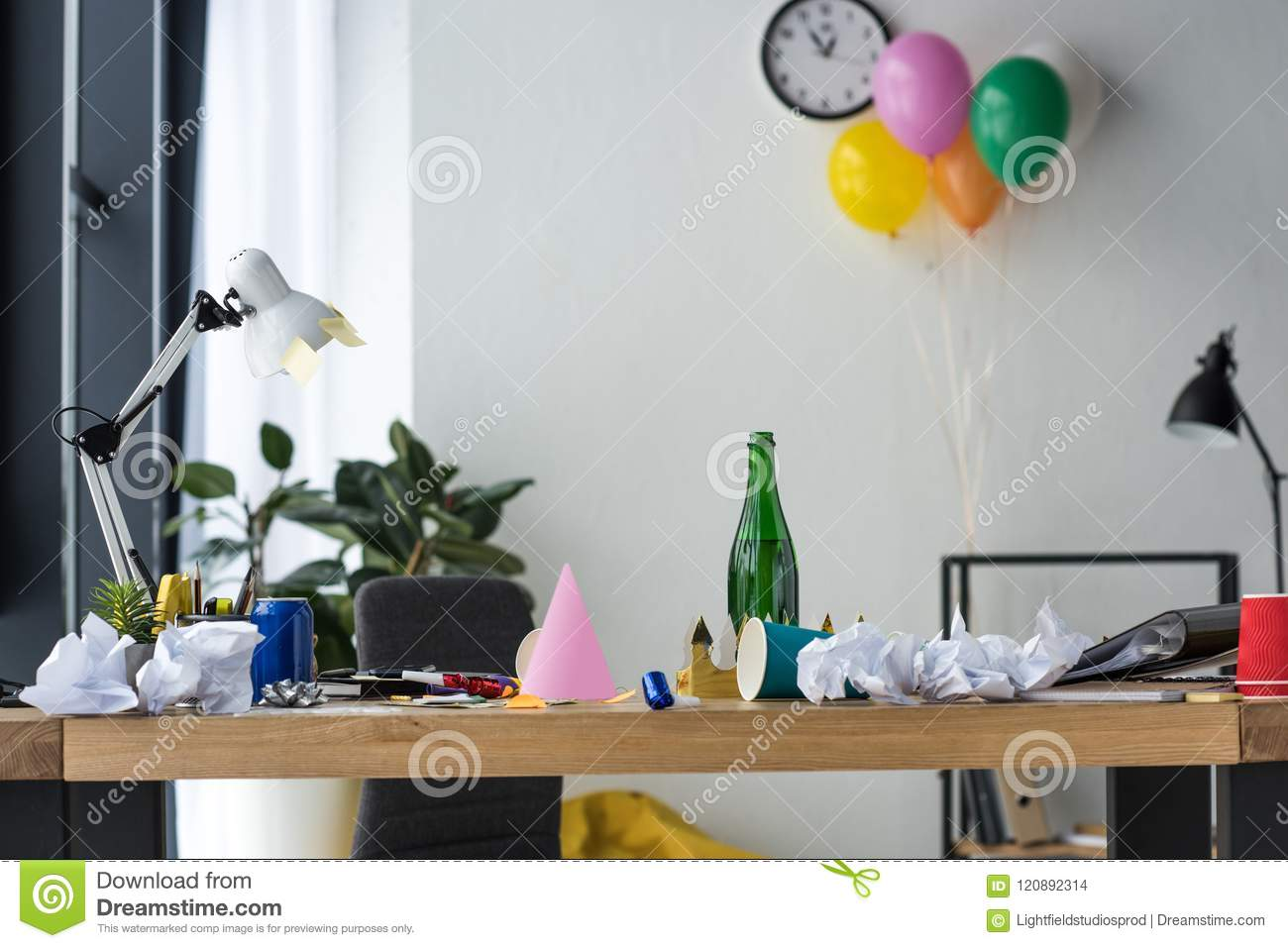Party Decorations Bottle Of Champagne And Balloons Stock Photo