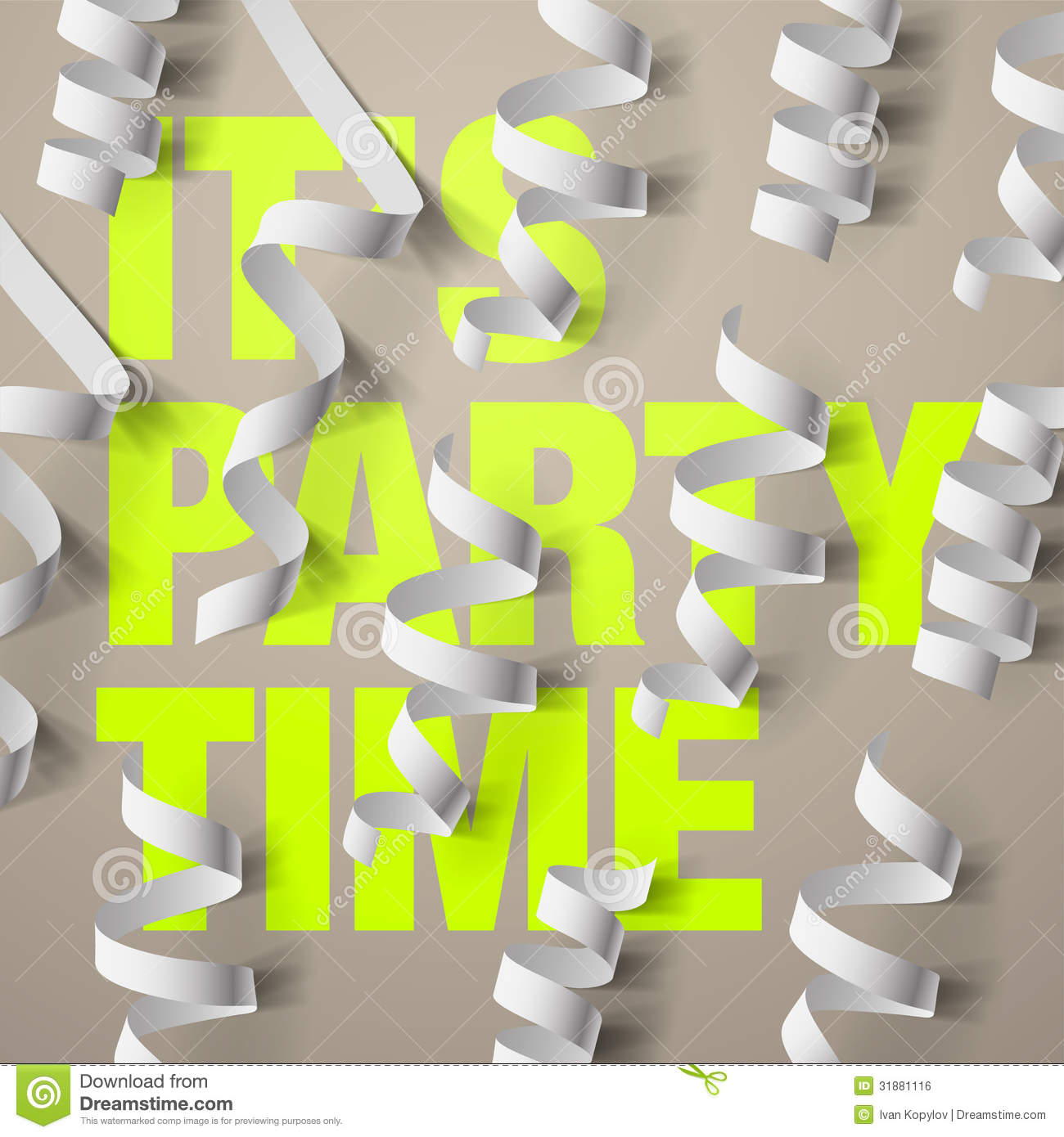 party design template with streamers and confetti stock