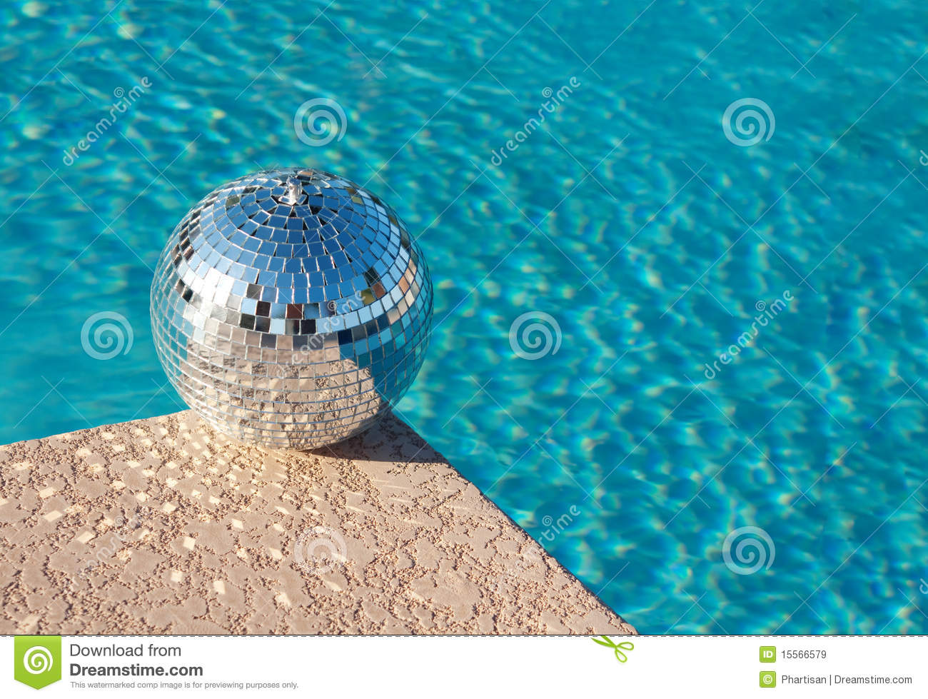 Party Disco Ball Beside Resort Swimming Pool Stock Image