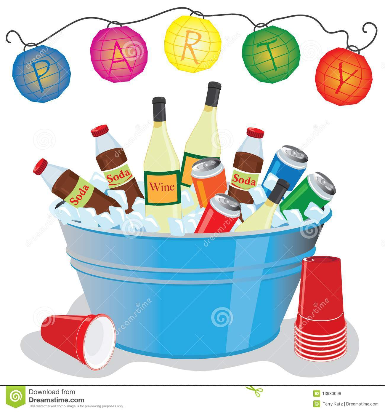 Party Drinks stock vector. Illustration of outdoor, bucket - 13980096