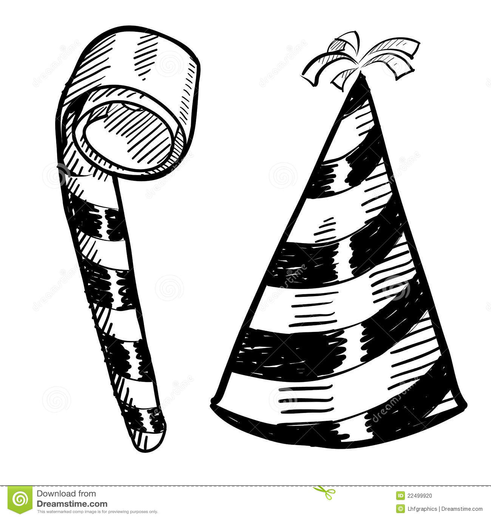 Party el bosquejo del sombrero y del noisemaker