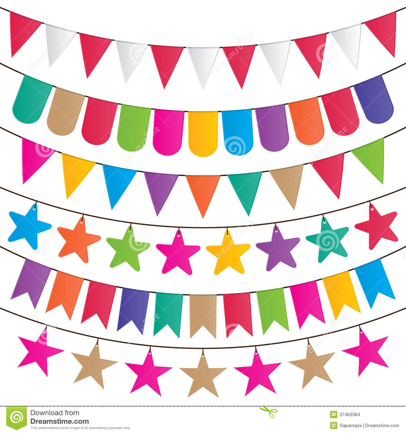 Stock Images Party Flags Bunting Garland Decoration Vector Set Image37463384 on fiesta bunting clip art