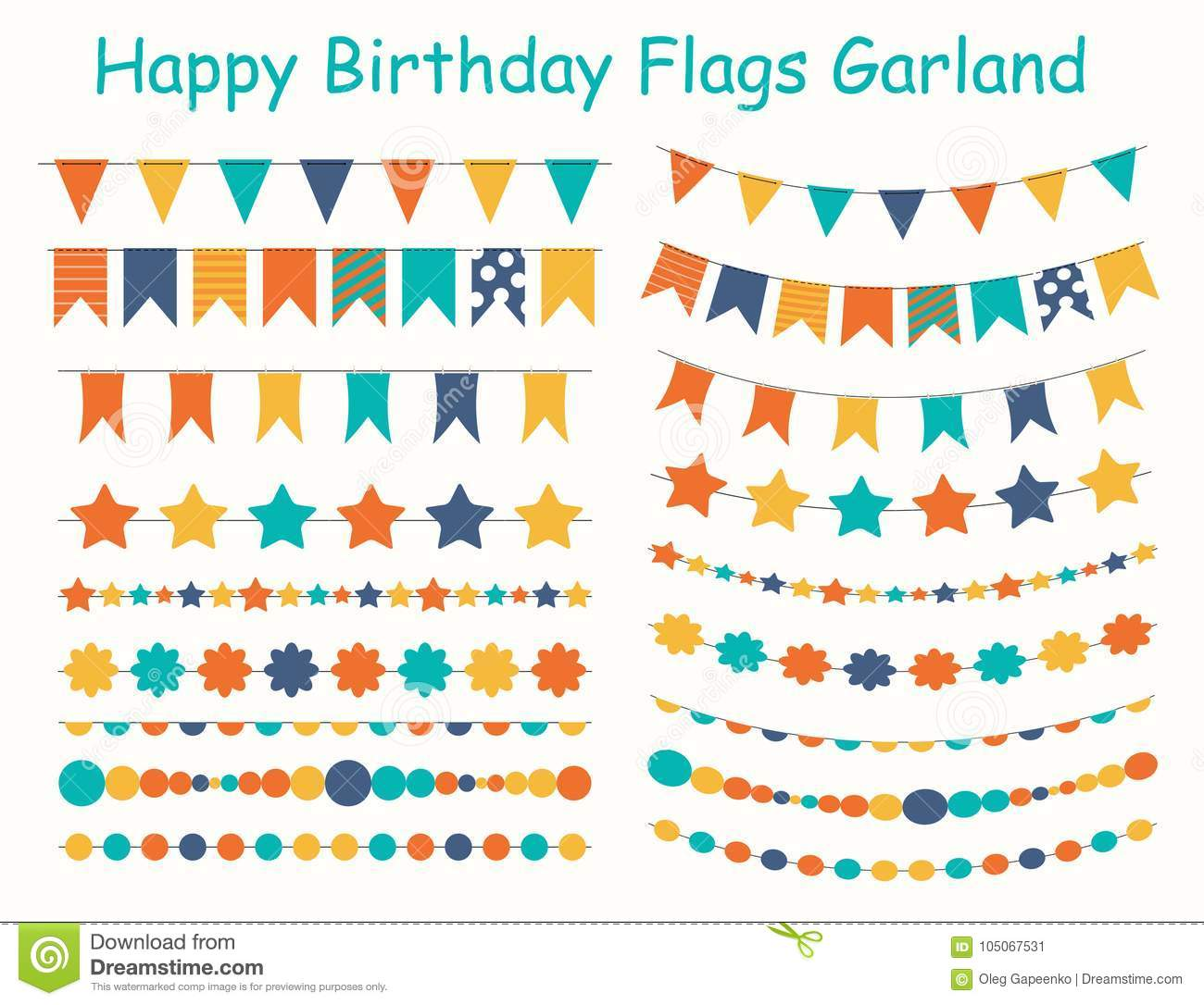 Party Flags, Buntings, Brushes For Creating A Party Invitation Or ...