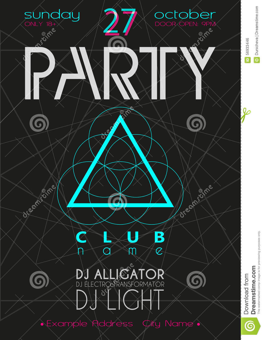 Party Flyer. Nightclub Flyer. Stock Photo - Image: 56933446
