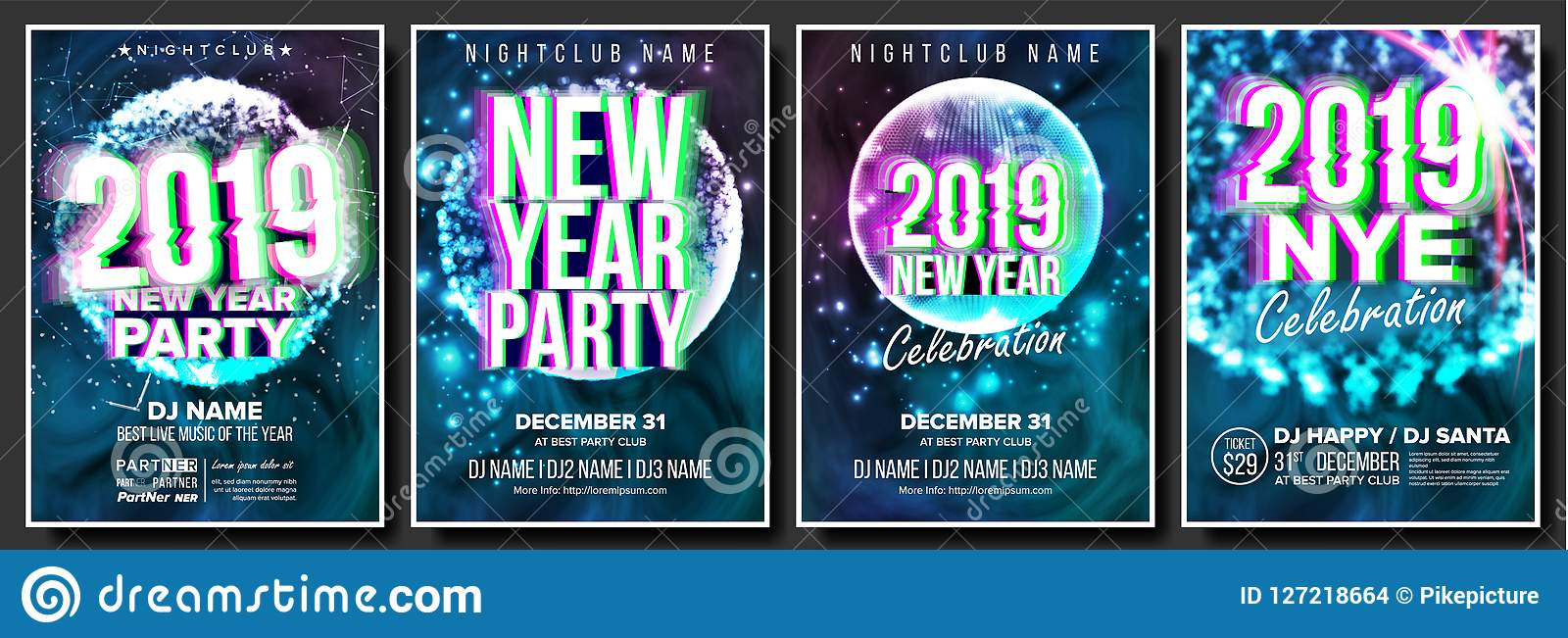2019 party flyer poster set vector night club celebration musical concert banner happy new year celebration template winter background disco light