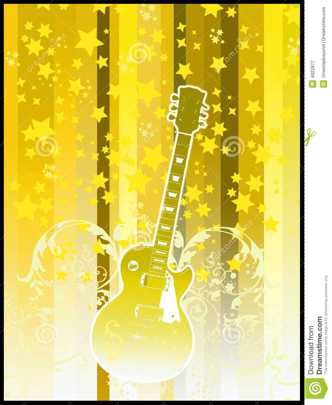 party flyer - yellow guitar royalty free stock photography