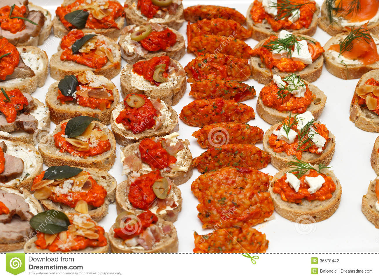 Party food stock photography image 36578442 for Canape wraps