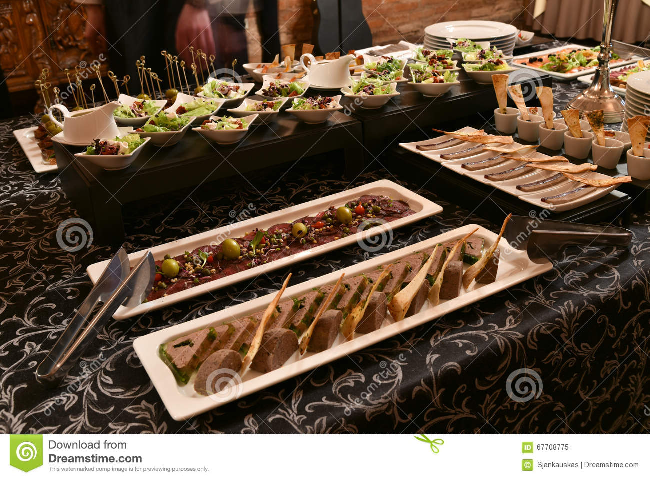 party food table stock image image of anniversary decoration 67708775. Black Bedroom Furniture Sets. Home Design Ideas