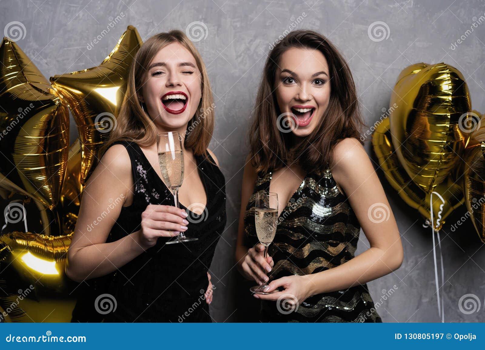 fdb15035677 Party Fun. Beautiful Girls Celebrating New Year. Portrait Of ...
