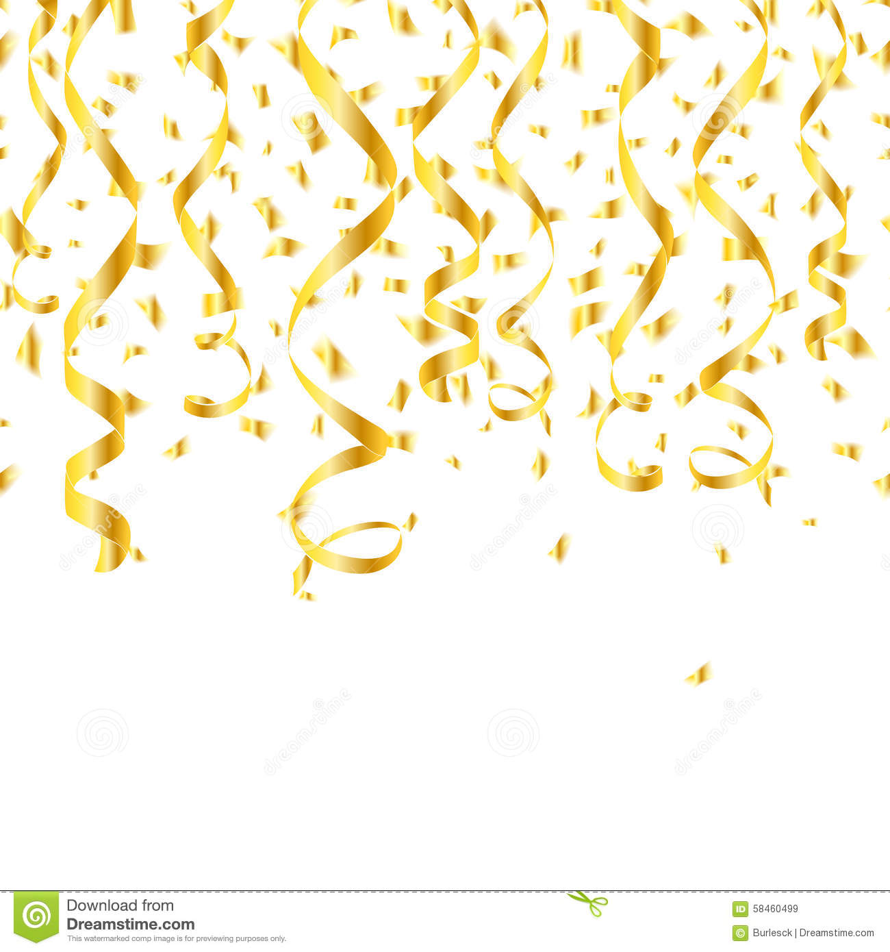 Party Golden Confetti Streamers Stock Vector Image 58460499
