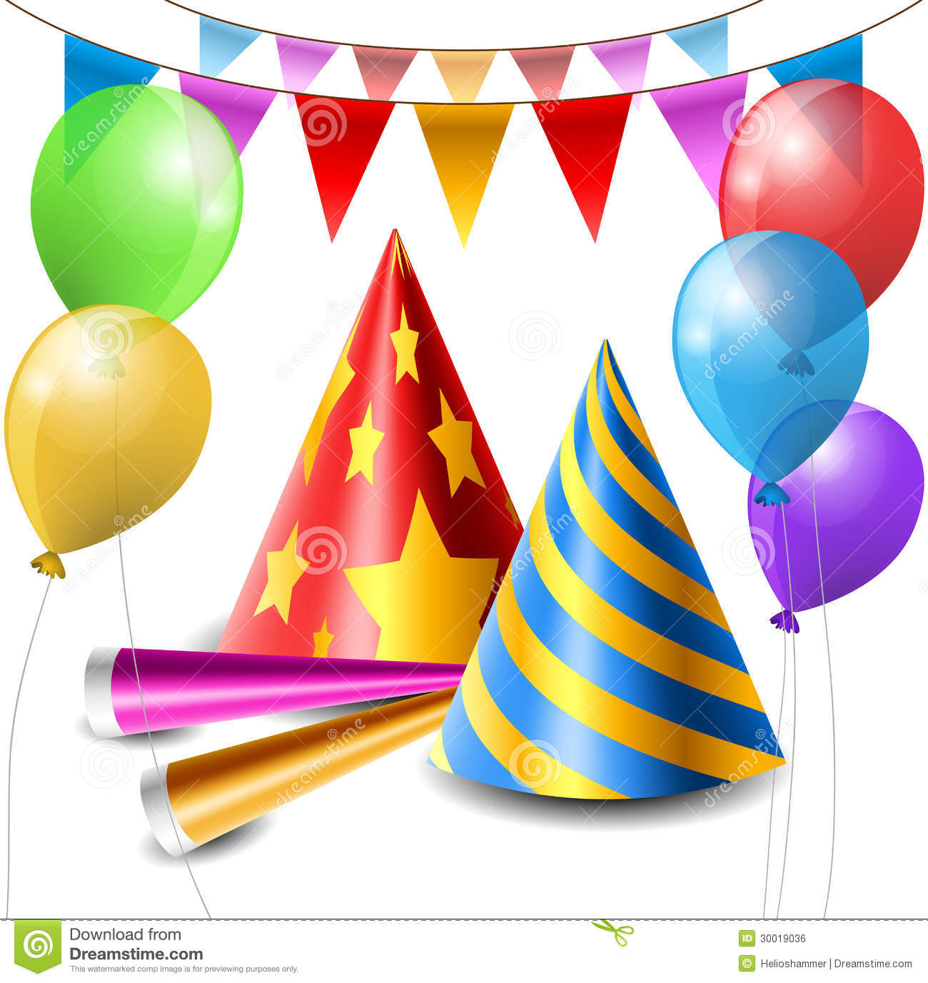 Party Hat, Balloon And Horn Set Stock Vector