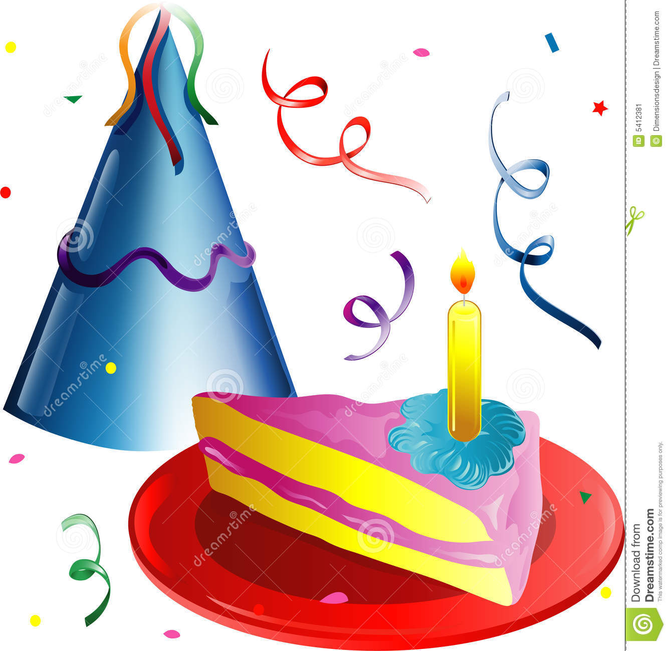 Party Hat And Cake Slice Stock Illustration Illustration Of