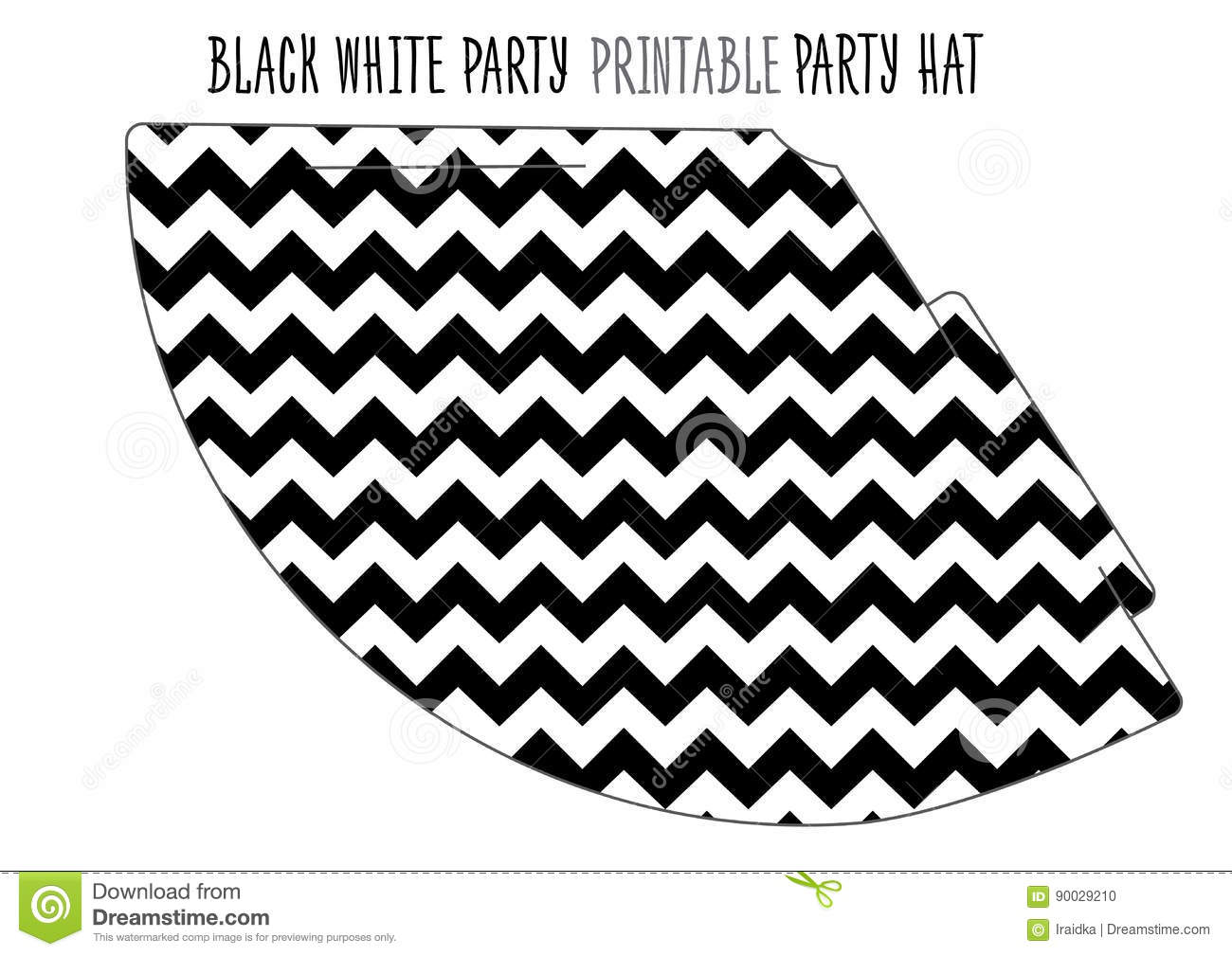 photo relating to Hat Printable titled Celebration Hat Printable For Black And White Social gathering. Inventory Vector