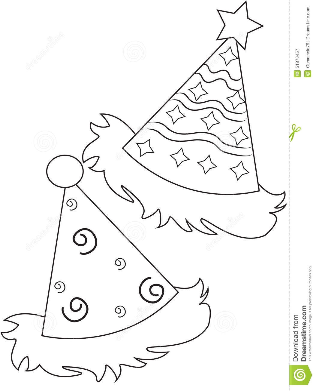 Party Hats Coloring Page Stock Illustration Image 51870457