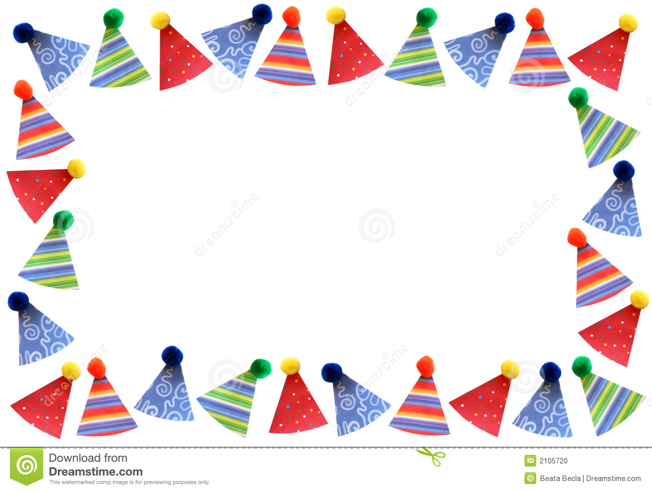 Party hats frame stock photo Image of birthday happiness 2105720