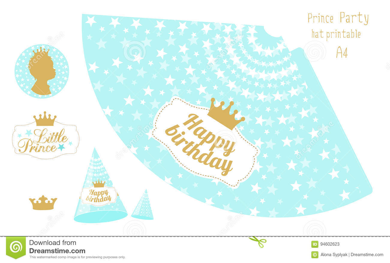 image about Printable Birthday Hat identify Social gathering Hats Printable. Blue And Gold Prince Social gathering Inventory