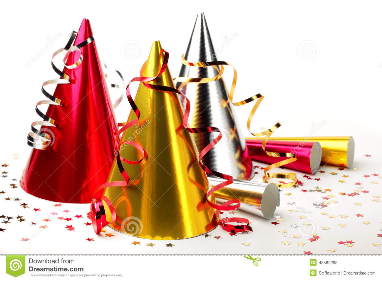 Party Hats With Streamers Stock Photo - Image: 43582295