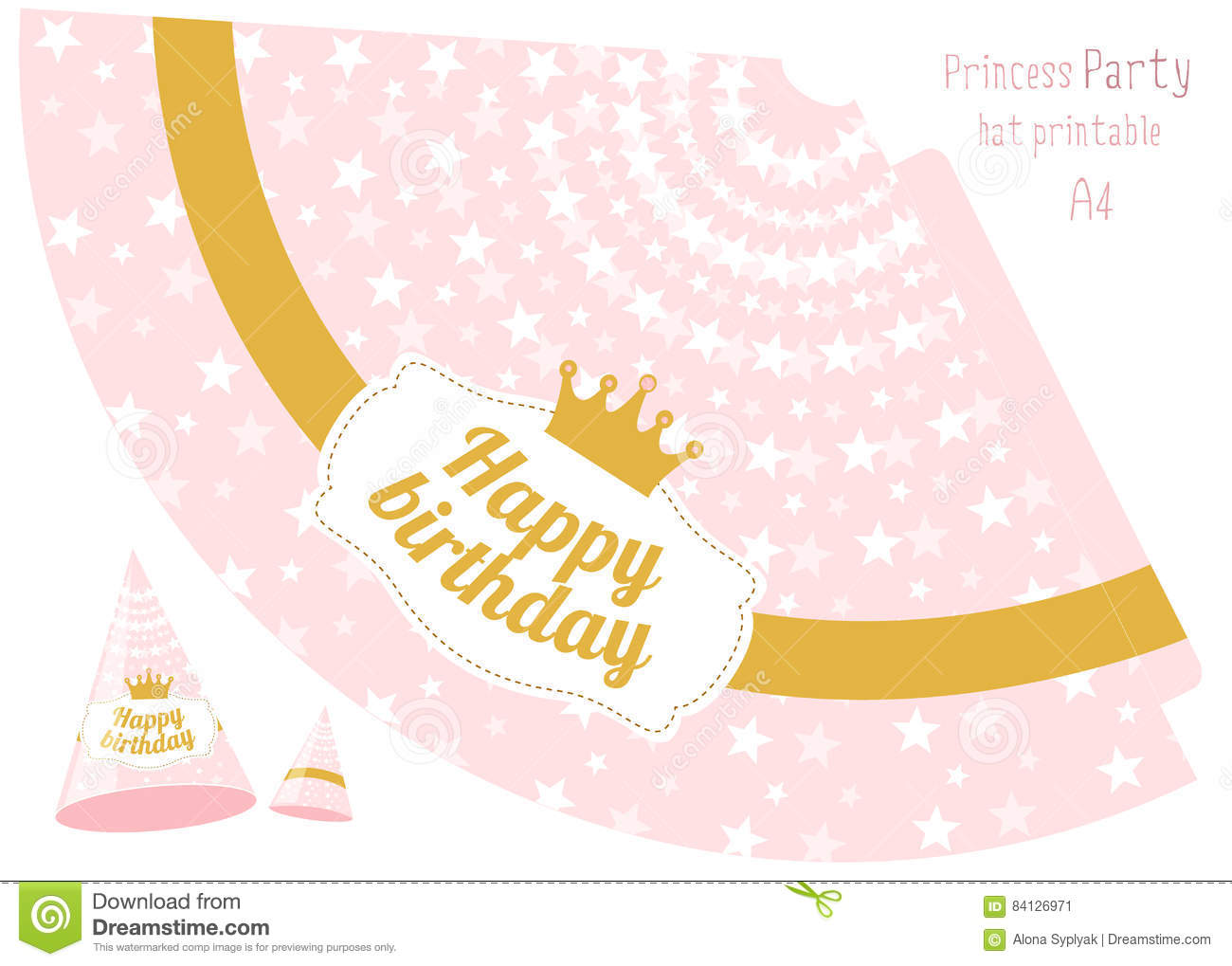 Party Hats V Printable Pink And Gold Princess Party Vector – Party Hat Template