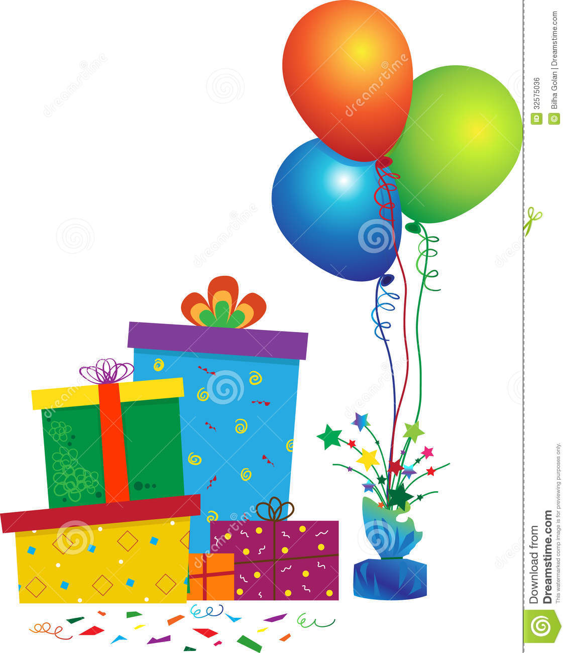 Vector illustration of gift boxes, balloons and confetti. Eps10.