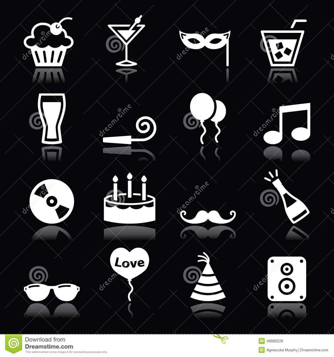 Party Icons Set Birthday New Year S Christmas On Black