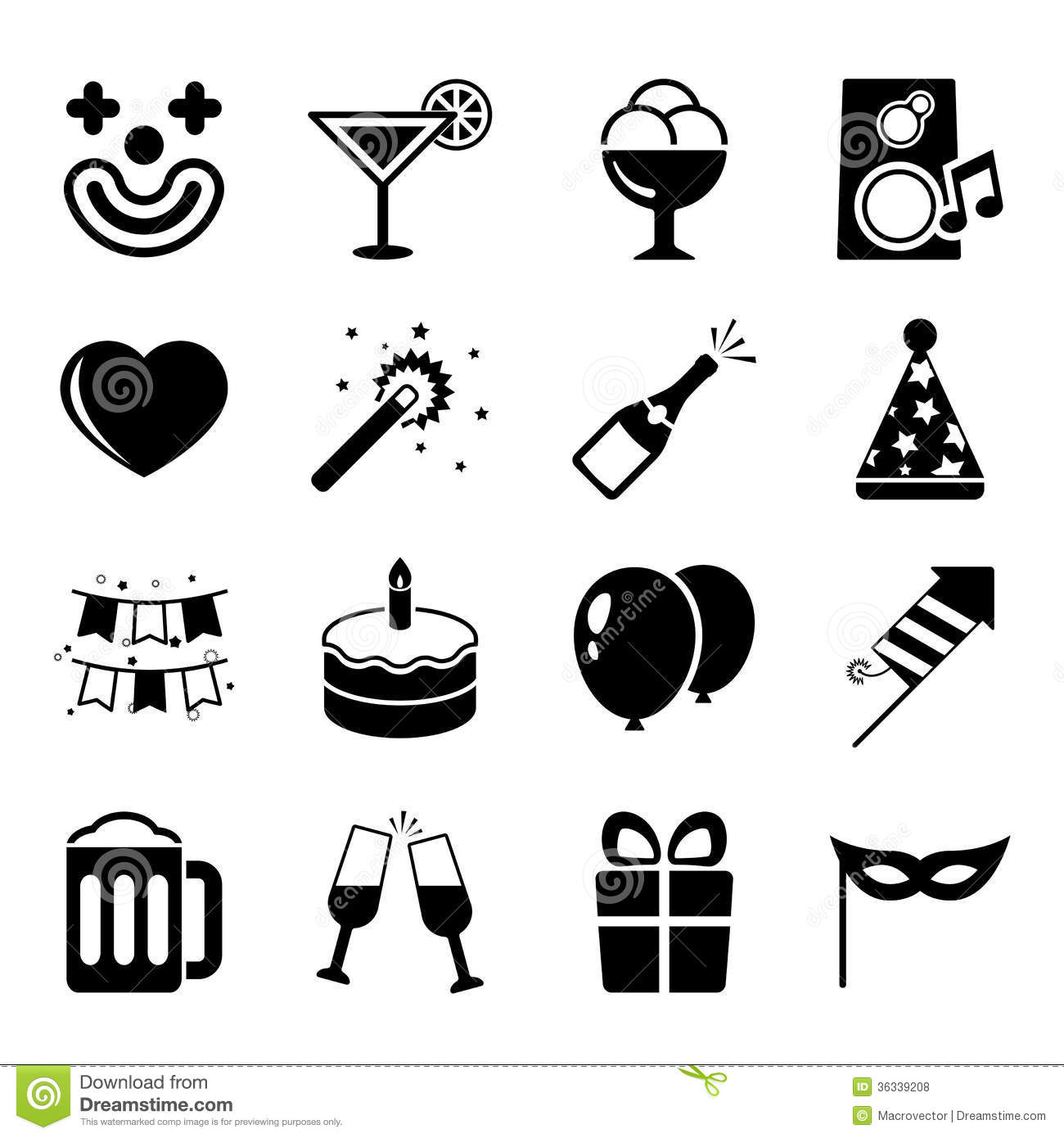 Party Icons Set Contrast Flat Royalty Free Stock Photos