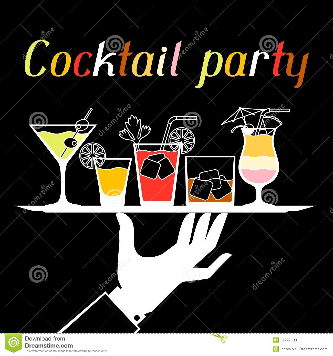 party invitation with alcohol drinks and cocktails stock vector