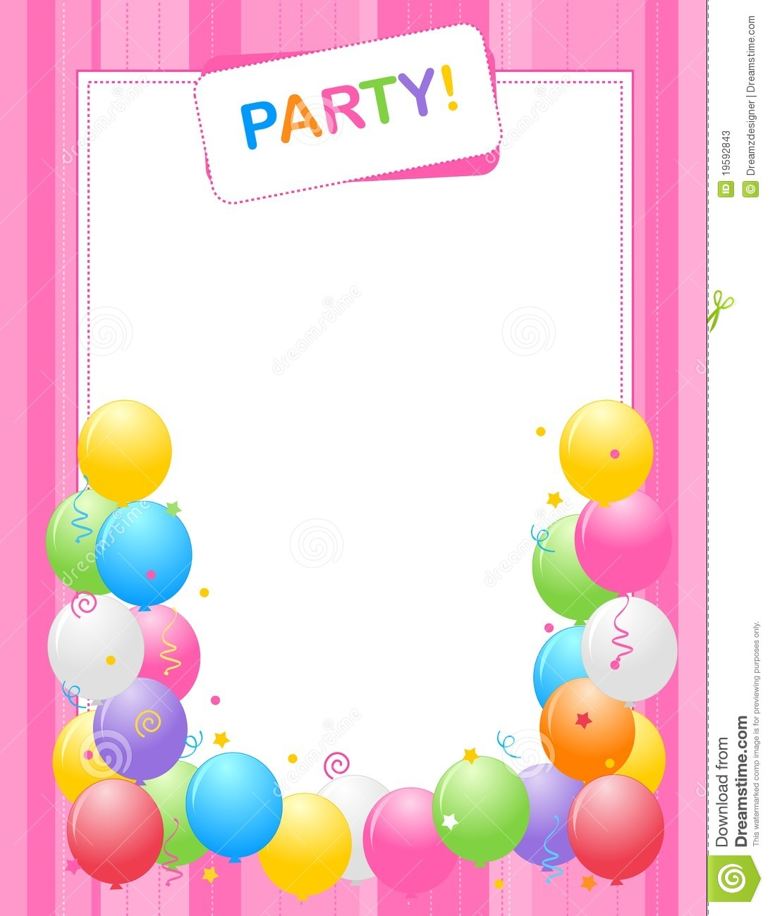 Colorful Balloons Border Frame Illustration For Birthday Cards And Party Invitations Backgrounds