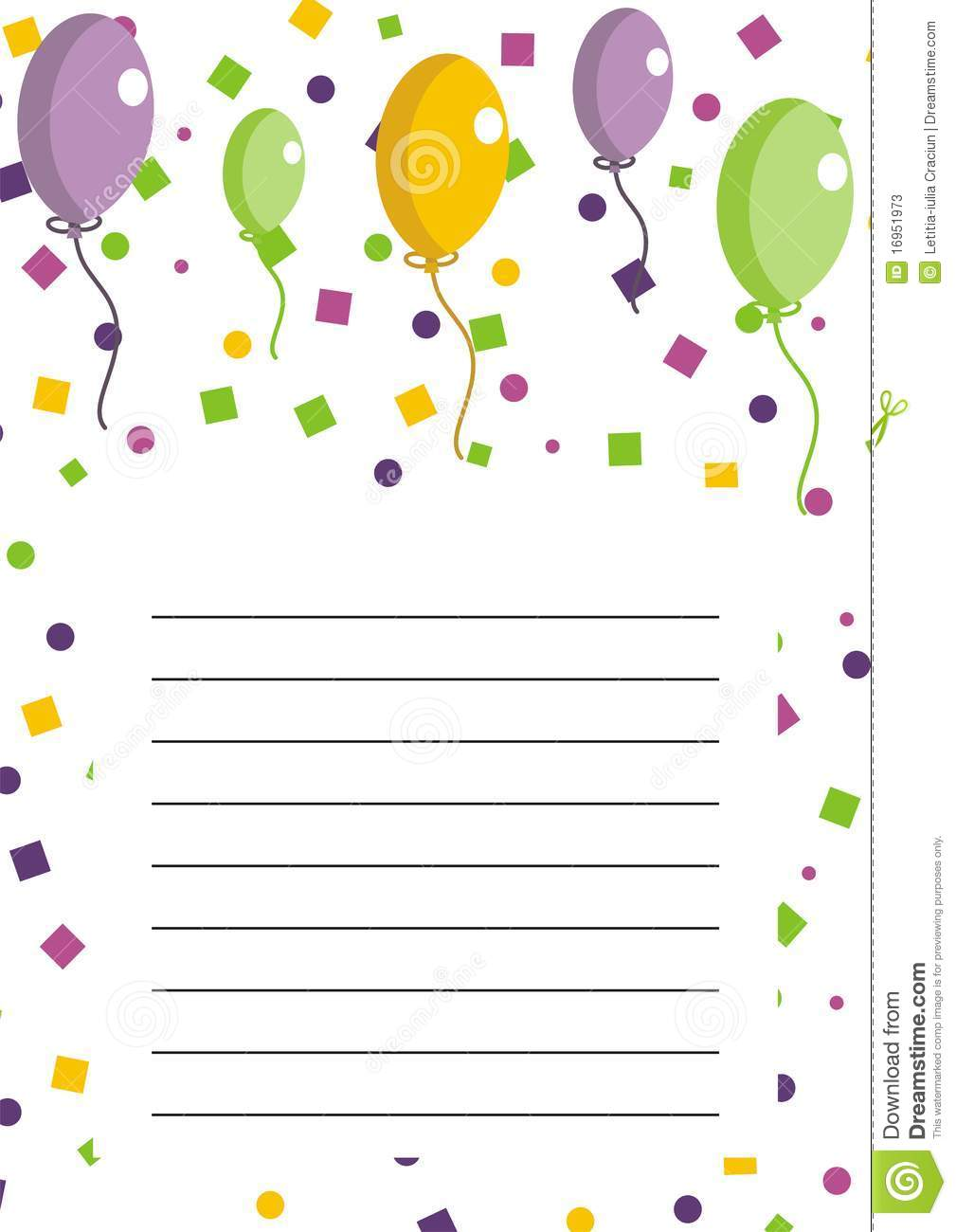 Party Invitation With Balloons Stock Vector - Image: 16951973