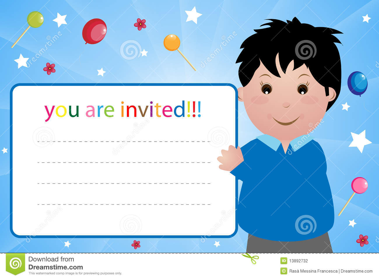 Party Invitation Card - Boy Stock Vector - Illustration of abstract ...