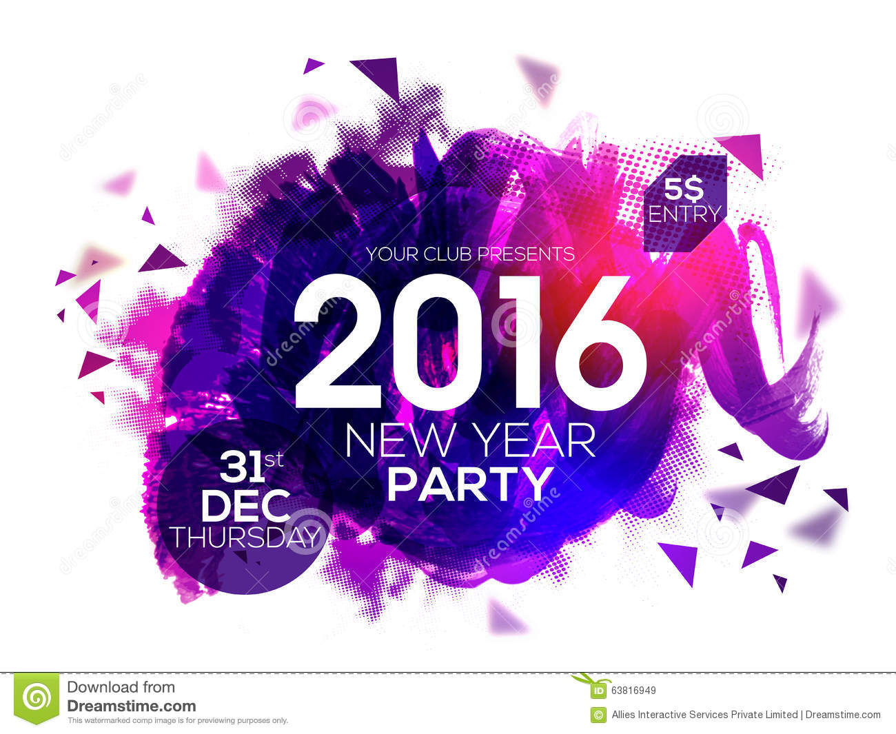 party invitation card for new year 2016 stock illustration