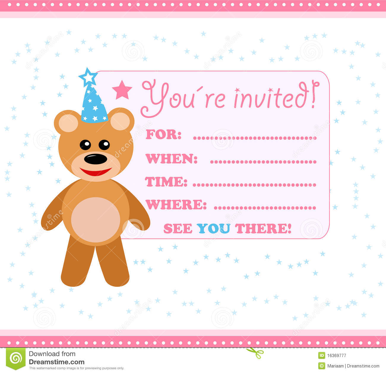 Party Invitation Card With Teddy Stock Illustration - Image: 16369777