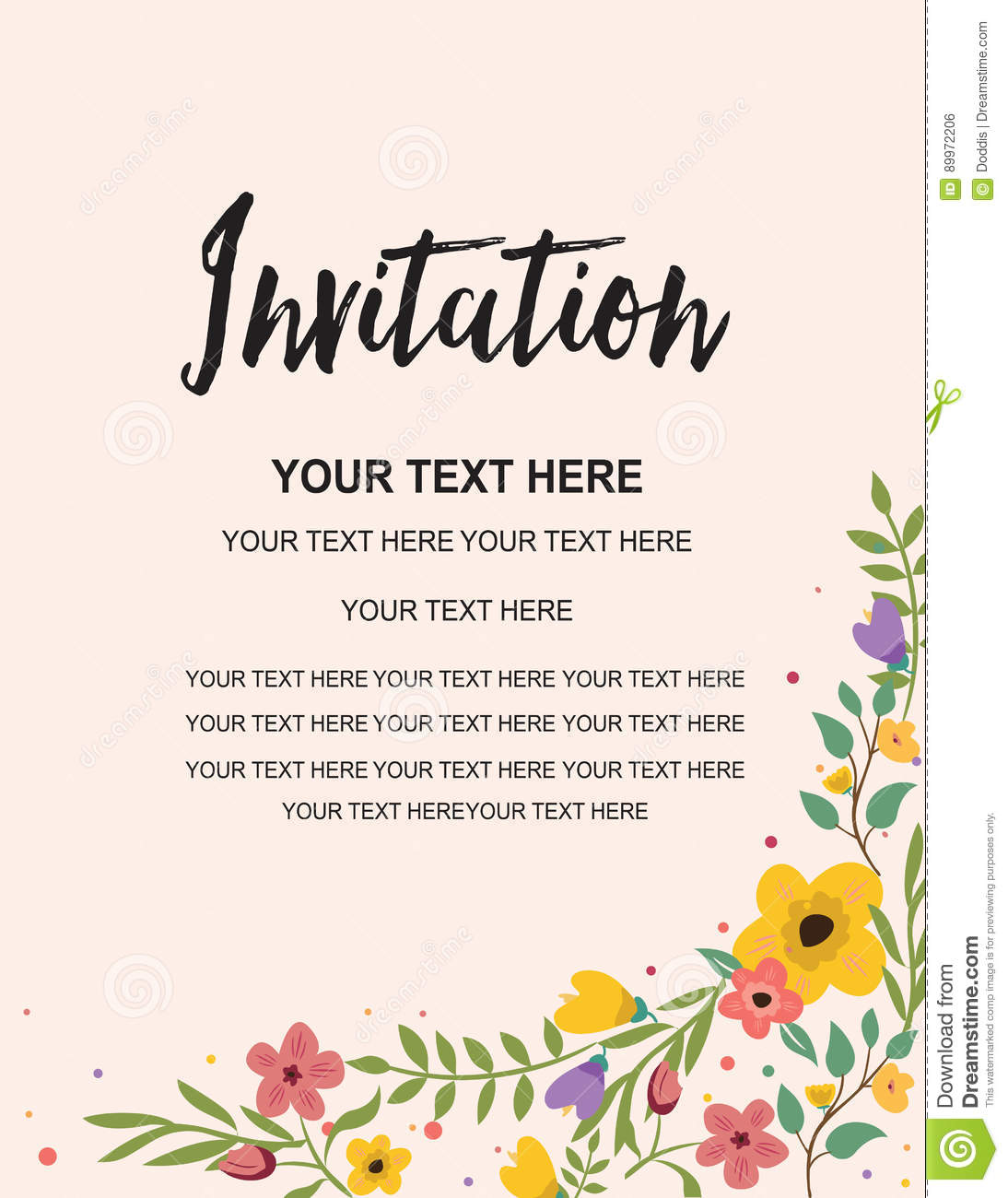 Download Party Invitation Card Template Floral Illustration Vector Creative Design Stock