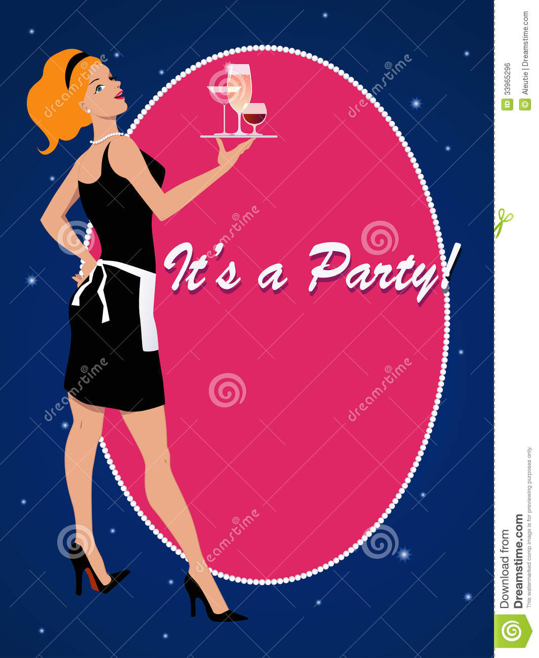 Party Invitation With A Cocktail Waitress Royalty Free Image – Cocktail Party Invitations Templates Free