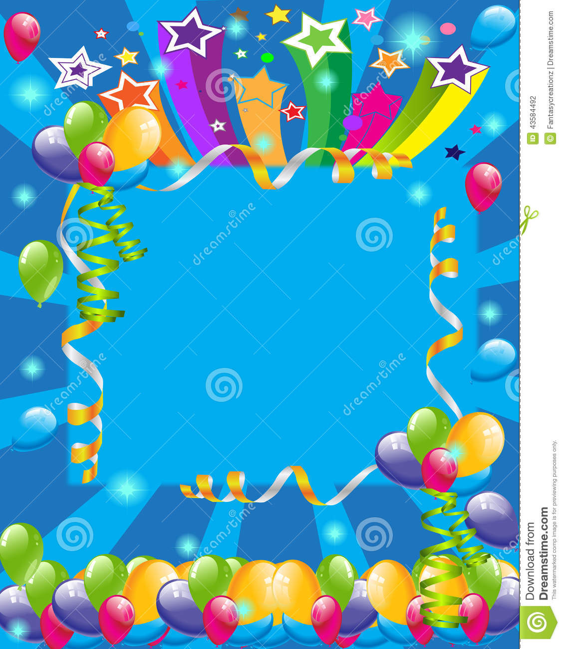 Colorful Balloons And Statrs Illustration For Birthday Cards Party Invitations Backgrounds