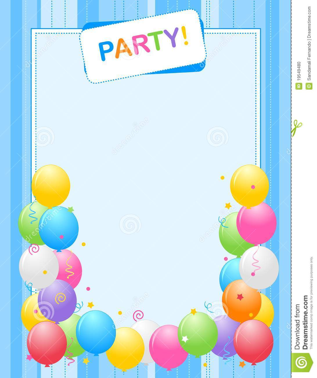 Party Invitation Frame Stock Photo Image 19549480