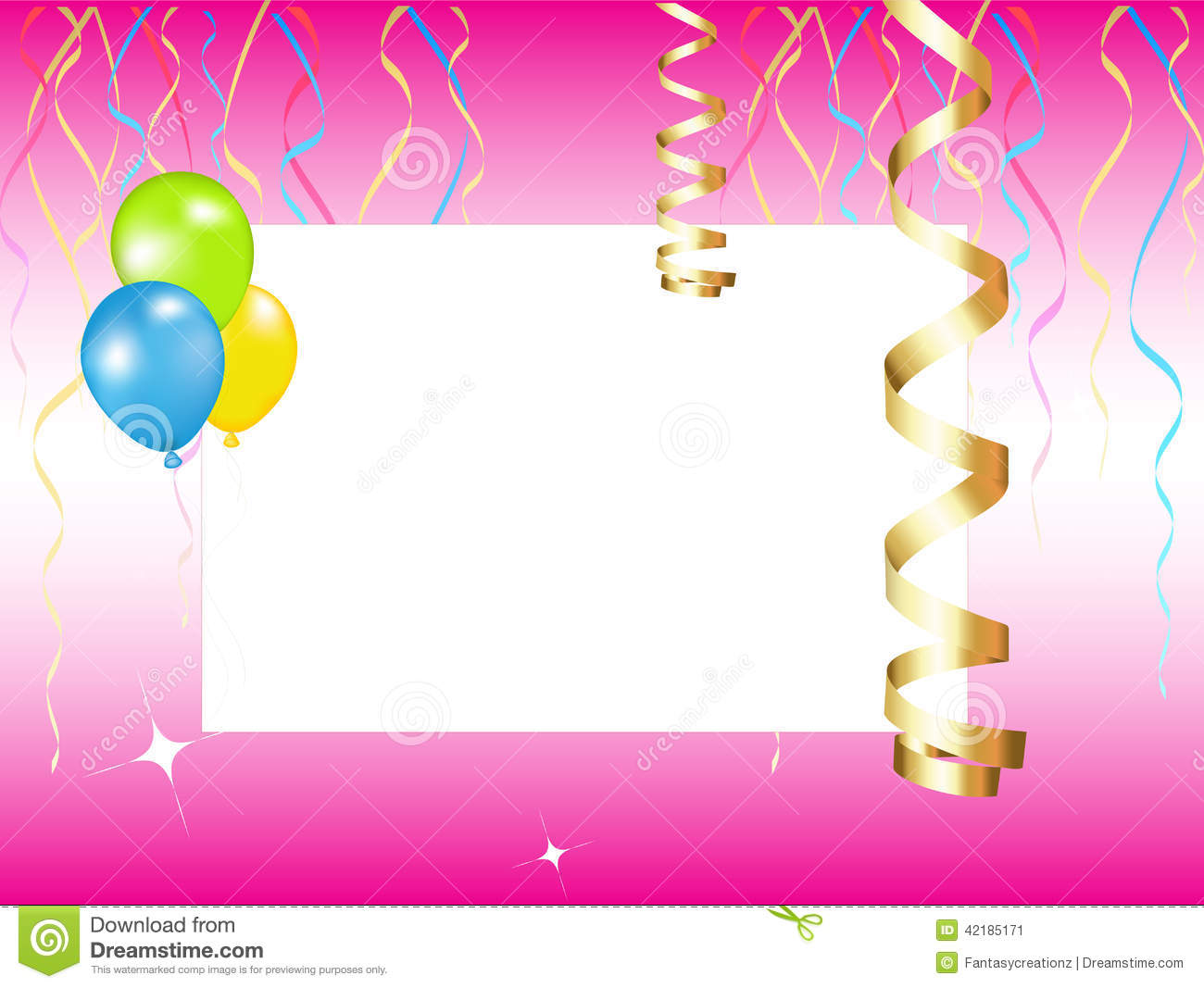 Plain And Simple Party Invitation Background Design With Balloons